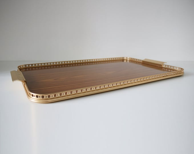 60s 70s  large teak effect laminate and gilt tray by Woodmet - fab condition
