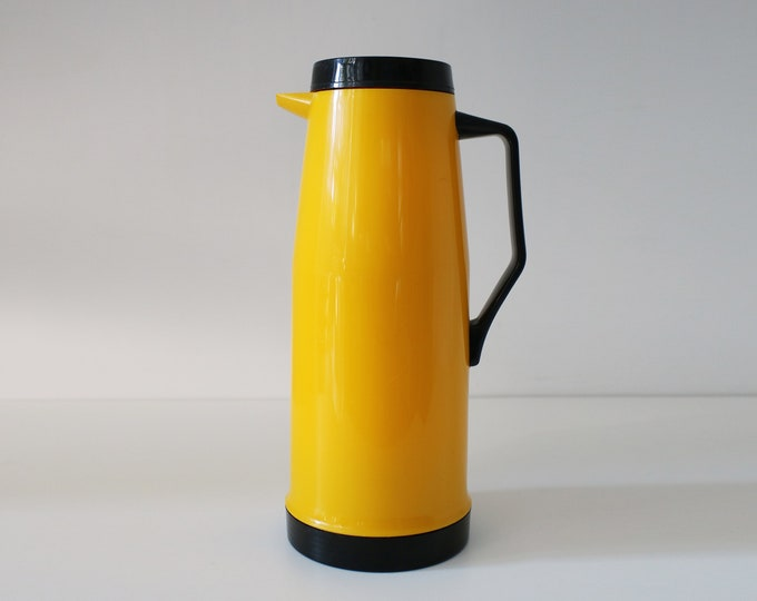 1980s 90s bright yellow and black thermos coffee jug pitcher flask - Memphis inspired