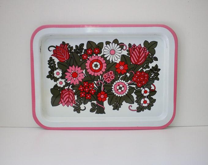 1960s flower power enamel metal serving tray -rectangular retro vintage floral