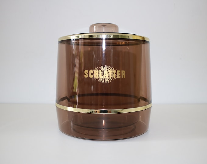 Spong 1970s brown perspex plastic ice bucket gold trim ice cool retro