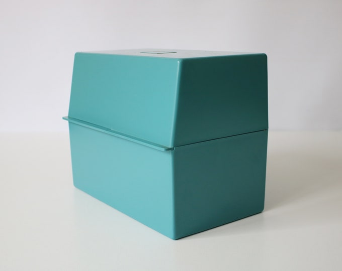 Large retro index card box file - WH Smith - teal plastic - 80s 90s - with cube logo