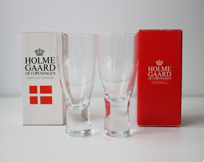 Vintage boxed Holmegaard Canada wine glass No. 2 by Per Lutkin - price is per glass - 9 available - mid century Danish