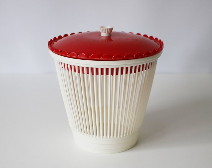 Vintage sewing basket / storage container in red and white plastic - crafts, make-up, jewellery, nibbles and dips