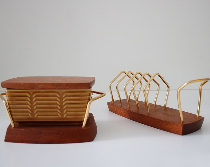 Wyncraft and Crown Devon butter dish with matching toast rack.