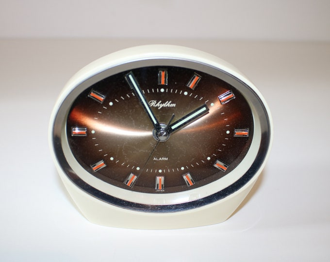 1970s space age Rhythm alarm clock - Japanese retro styling - working order