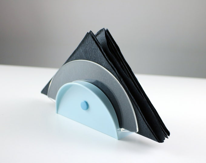 Rare 1980s Italian acrylic / lucite napkin holder in baby blue Bon Ton by Guzzini