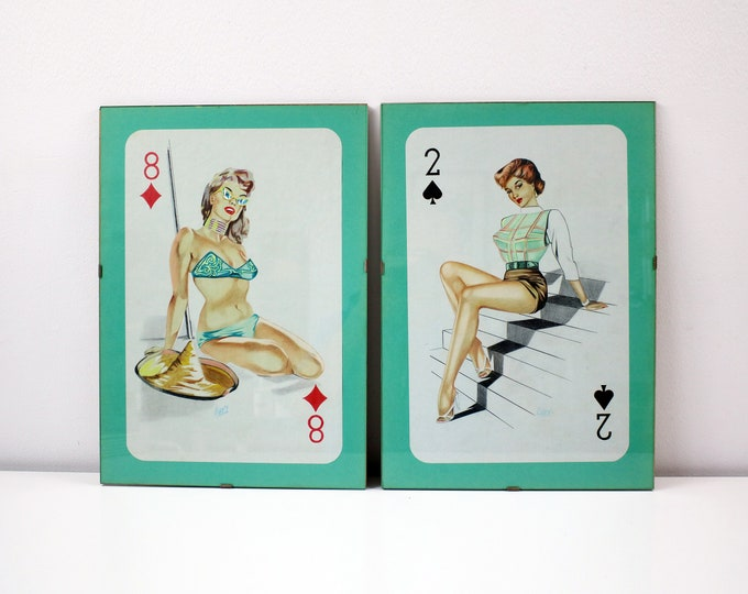 1980s pair of original pencil drawings of 50s pin up playing cards signed by artist - in original clip frames
