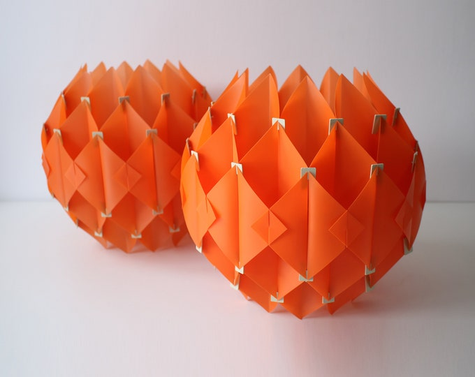 1970s orange plastic light shade / lampshade - modernist space age - 2 available - price is for one