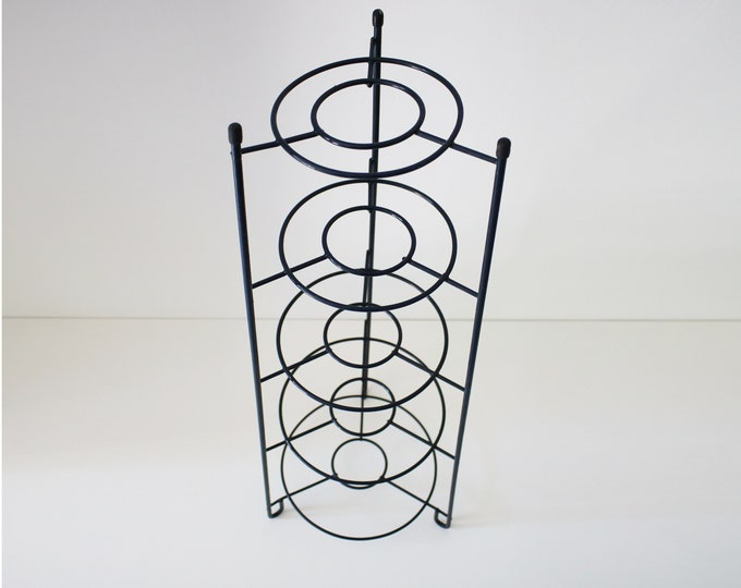 5 tier vintage pot stand in navy plastic coated wire.