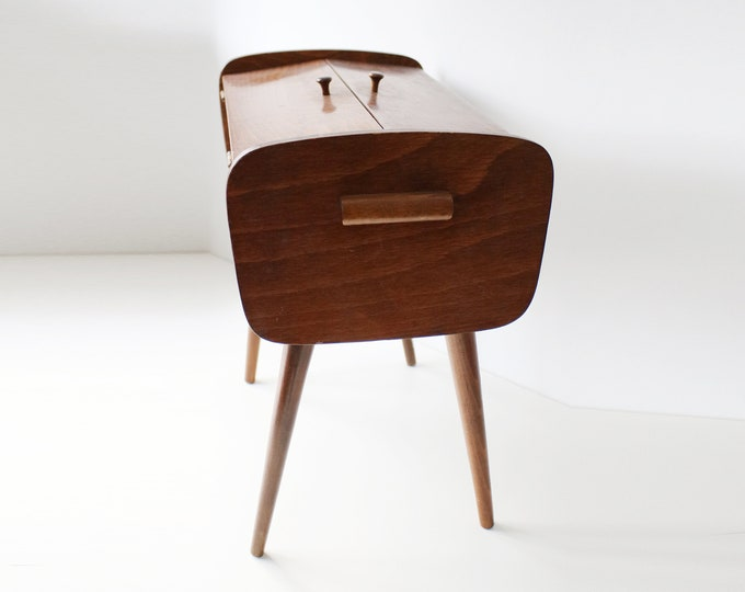 Danish styling mid-century sewing or jewellery storage box on tapered legs - dark wood / oak finish