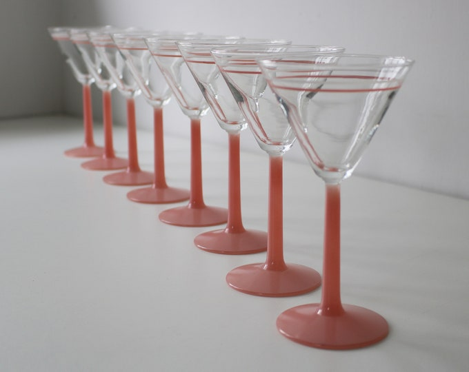 Set of 4 1980s cocktail / martini glasses with pastel pink stems and stripes - 2 sets available - ice cream sundae dishes