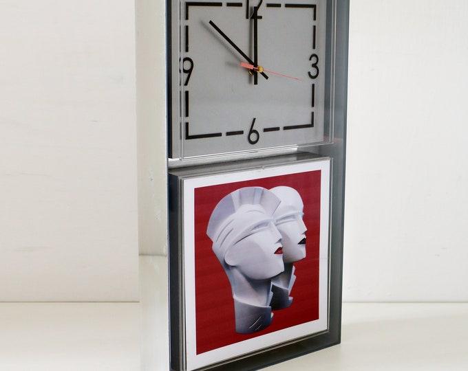 1970s art deco revival perspex advertising clock - tobacconist shop wall clock