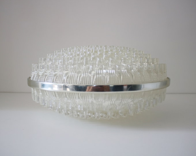 Space age modernist light shade / lampshade flying saucer in clear acrylic with metallic trim