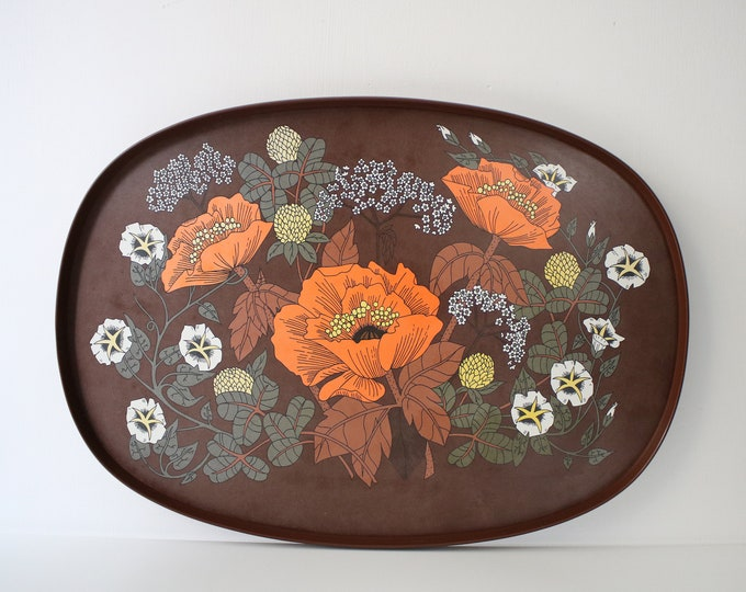 1970s large melamine tray - Poppy design by St Michael / Marks and Spencer