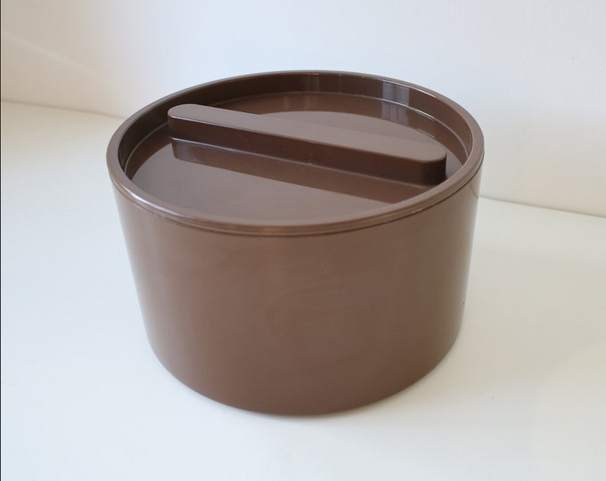 1970s 80s plastic cake storage box by St Michael Marks and Spencer brown finish