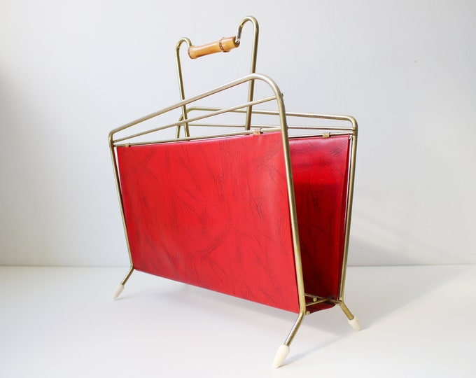 "Mid century atomic gilt/brass and red leatherette vinyl magazine / vinyl record rack LPs 7"" 12"""