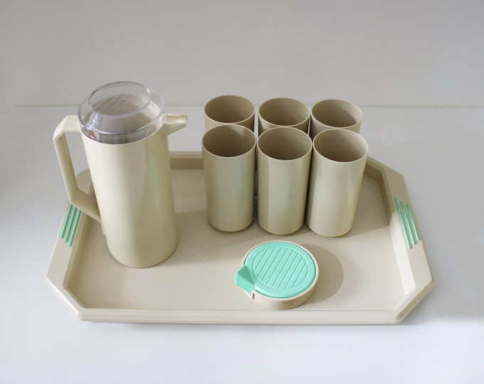 Rare 1980s Keter geometric drinking set - jug, tumblers, tray and coasters - memphis inspired plastic