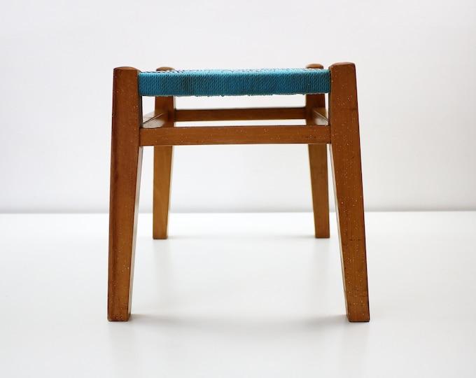 Mid century woven nylon and hardwood foot rest fishing stool plant stand - dansette shape