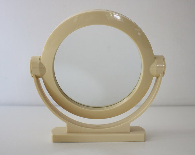 Space age 1970s 80s modernist cream plastic swivel / vanity / dressing table mirror