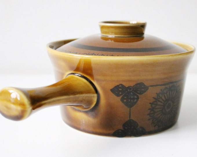 1960s mid century Norwegian ceramic lidded saucepan by Stavangerflint  designed by Inger Waage Norway 17.5cm diameter