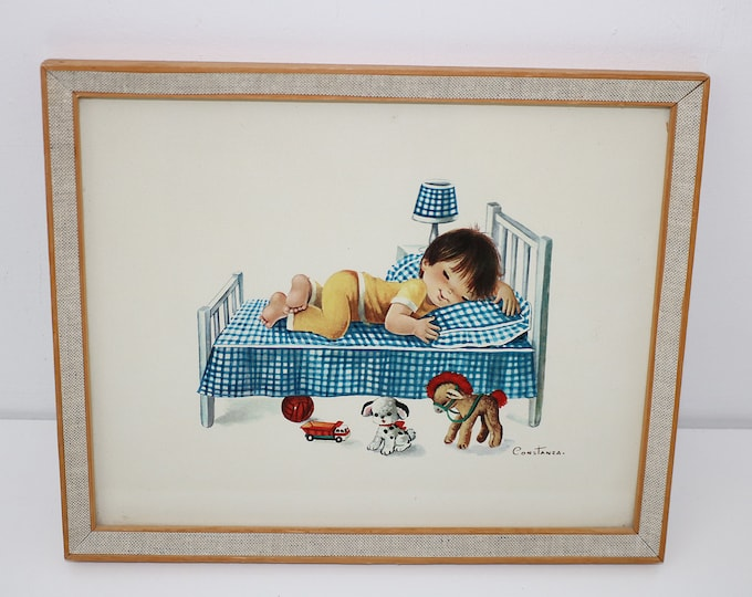 VIntage cute framed print by Constanza - 60s 70s Wooden and hessian frame boy asleep