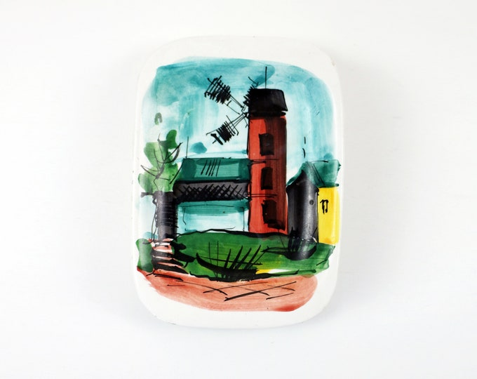 1960s Italian ceramic dish - hand painted windmill - Souvenir made in Italy