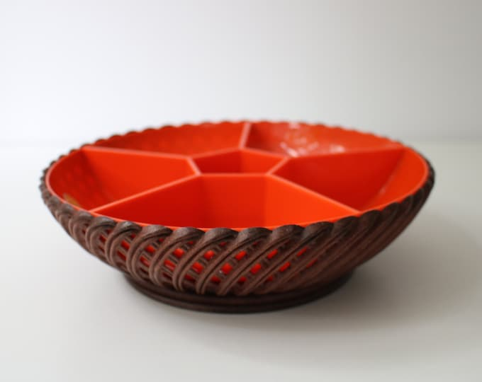 Mid century Emsa chip n dip party serving bowl in faux rattan and orange plastic - West Germany
