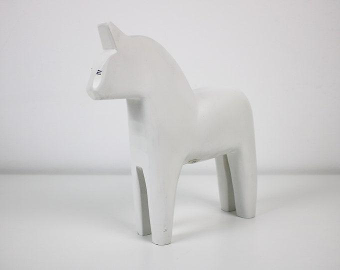 1999 Rare white wooden Dala horse for Ikea - Finansiell