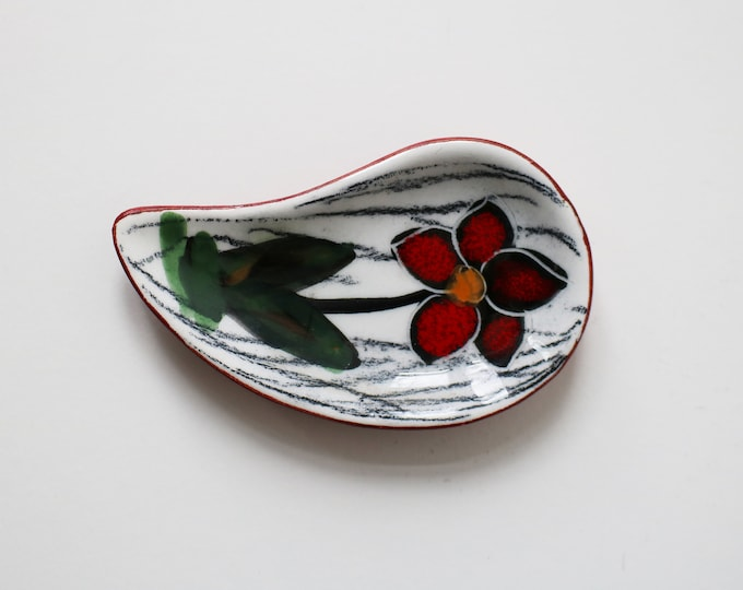 1960s modernist Italian San Marino leather backed pin dish with flower - mid century