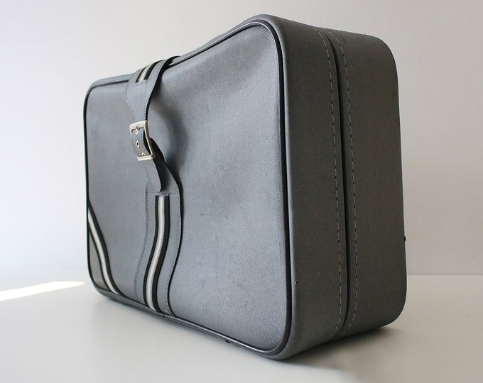 Vintage Marks and Spencer St Michael soft shell linen-effect vinyl suitcase. 60s 70s grey and black
