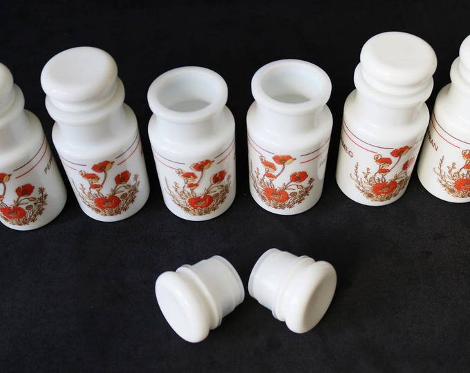 Milk glass vintage spice containers with poppy flower design - apothecary style + oil and vinegar bottles