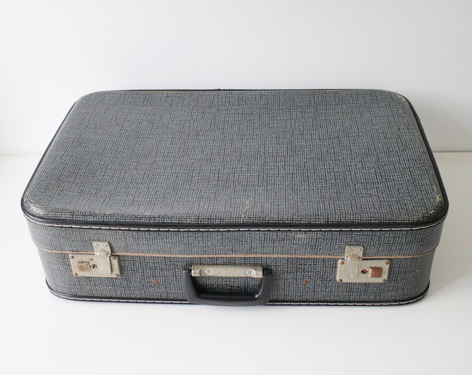 Mid century hard shell suitcase - grey pattern with black piping and silver metal art deco features