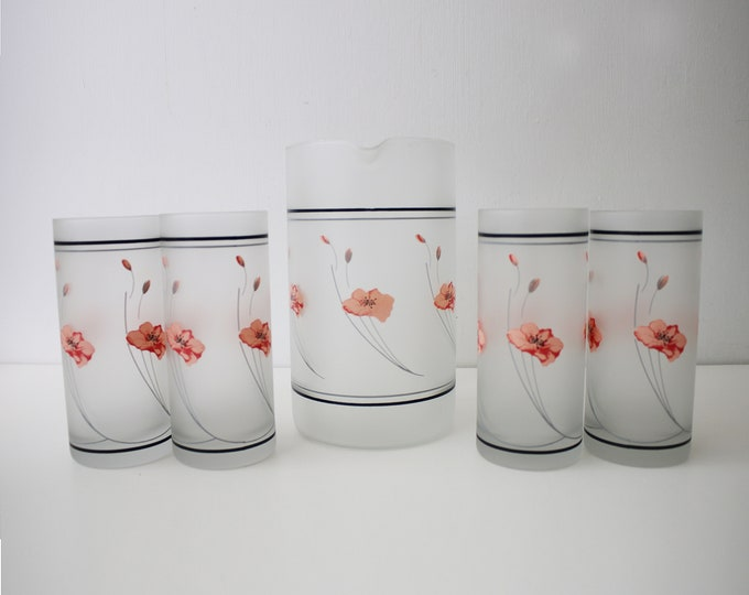 1980s poppy design frosted glass jug and glasses drinking set - 5 piece black and pink