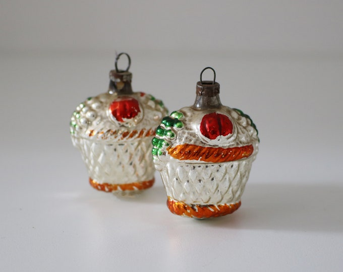 Pair of vintage glass Christmas tree decorations - fruit basket ornaments - 60s 70s