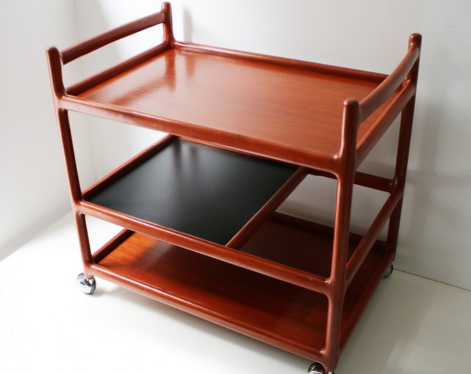 Johannes Anderson for Silkeborg Danish tea trolley - rich amber teak finish