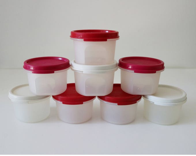8 Vintage Tupperware Modular Mates containers with cherry red, pink, white lids 1970s