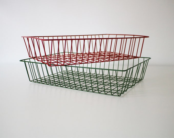 Vintage red and green wire grid metal filing trays - hi-tech industrial A4 paper tray / desk / office - 2 available