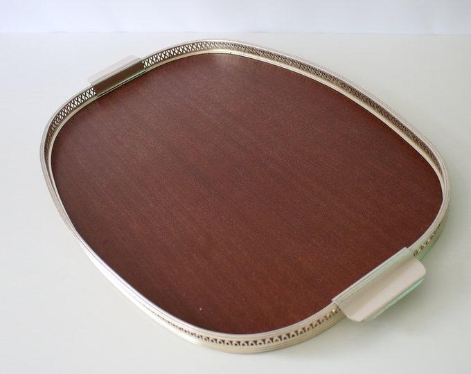 1960s 70s  extra large teak effect laminate and gilt tray