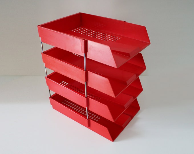 70s 80s Systemtray 44 filing trays by Myers. Bright red 4 stacking trays with metal risers