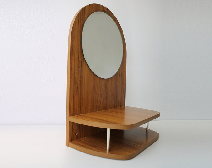 1960s 70s Hallway vanity shelf unit with circular mirror teak effect laminate veneer