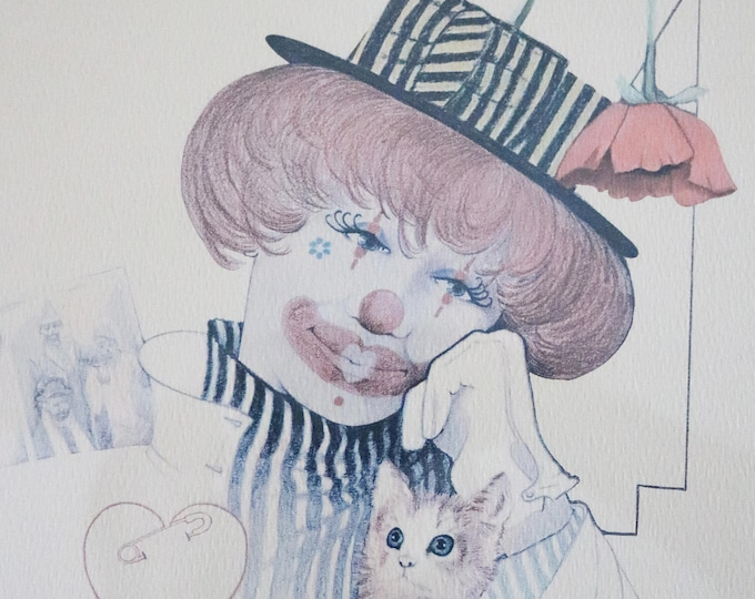 1970s framed print clown and kitten by William W Tara