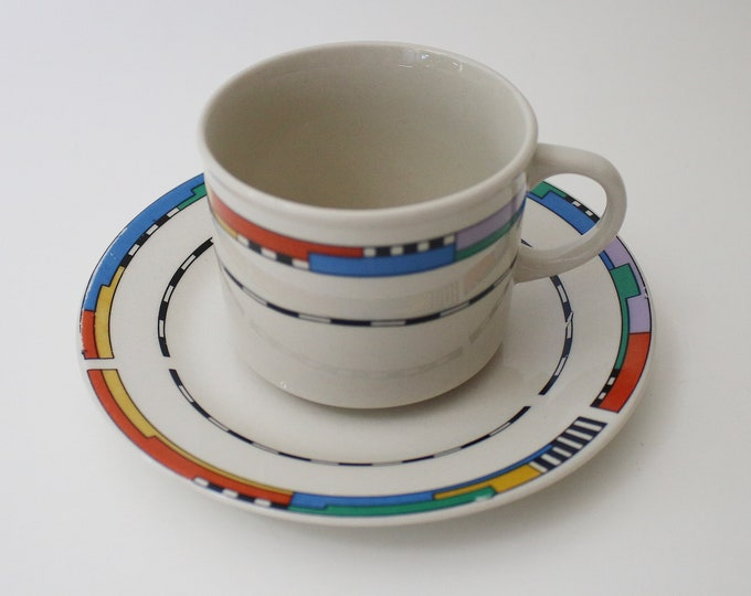 Set of 6 1980's Maplehill Stoneware cups and saucers - Memphis like geometric design. 2 sets of 6 available