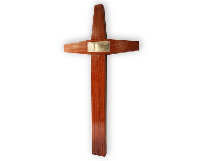 Large mid century wooden cross in teak/rosewood - 1960s modernist styling