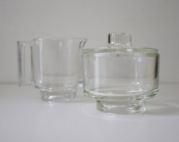 1960s Joe Colombo Arno modernist glass creamer/milk jug and sugar basin set.