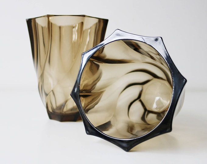 Pair of 1970s smoked swirl glass vases by Luminarc France