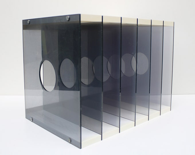Rare Height and Guille 1970s plastic and lucite vinyl record storage by Artifact Designs. rare modernist Design Centre
