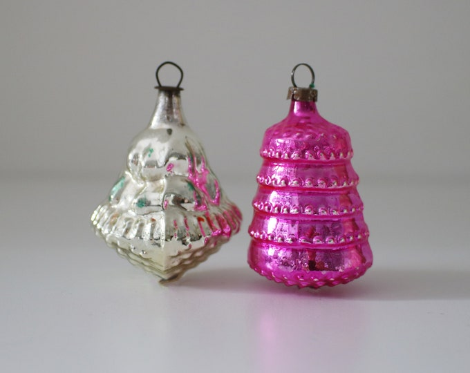 Delightful vintage glass baubles in pink and silver - tree, bell