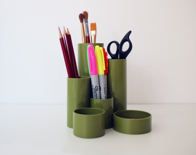 Original 70s 80s Platignum pen pot / desk tidy organizer - olive green tidy tubs