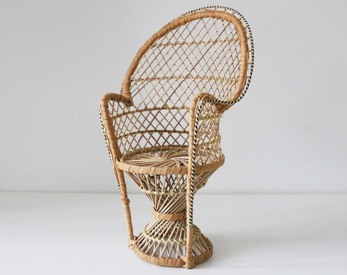 Vintage scaled rattan peacock chair for doll or plant stand. 40cm high