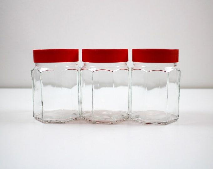 Single 1970s 80s Italian octagonal glass jar with red plastic lid. Covetro of Italy - 3 available